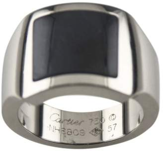 Cartier 18K White Gold Hawk's Eye Santos Dumont Ring Size 8