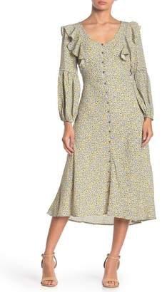 I. MADELINE Button Front Ruffle Midi Dress