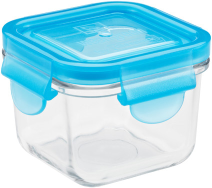 Container Store 4 oz. Glass Container Square Blue Lid