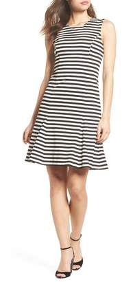 Vince Camuto Stripe Scuba Crepe Fit & Flare Dress
