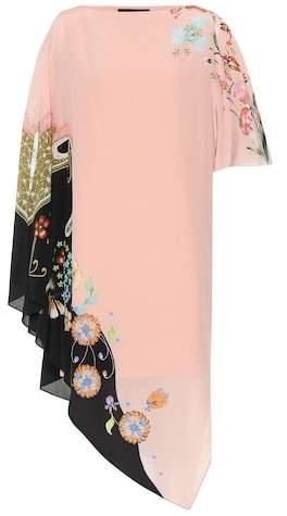 Floral silk asymmetric dress