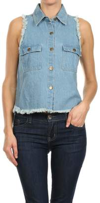 In Style Denim Frayed Vest