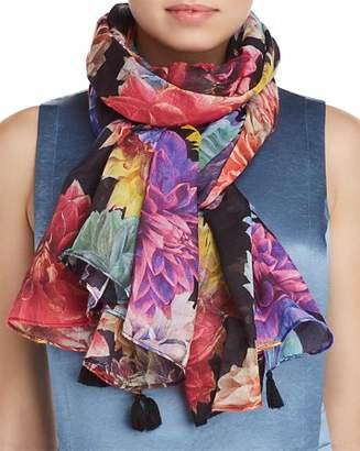 Larioseta Tassel Floral Print Silk Scarf