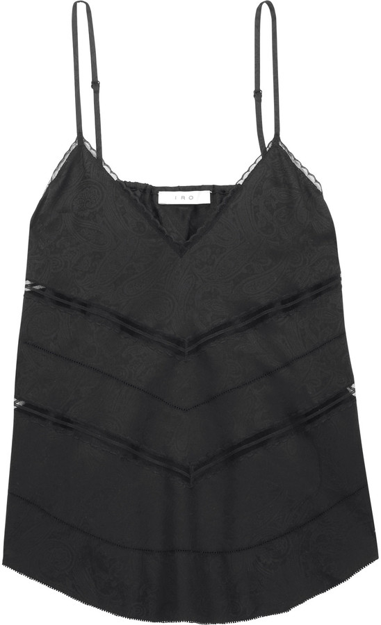 IROIRO Maisie lace and pointelle-trimmed jacquard camisole