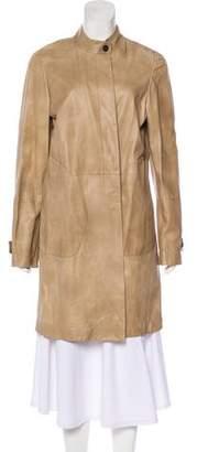 Brunello Cucinelli Leather Knee-Length Coat