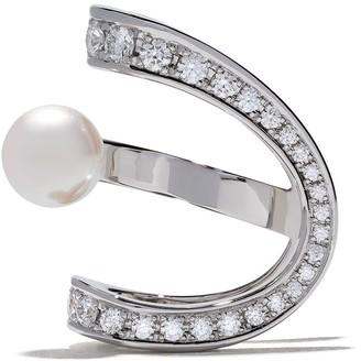 Tasaki 18kt white gold Aurora Akoya pearl and diamond ear clip
