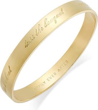 "Kate Spade Gold-Tone ""Happily Ever After"" Bridal Idiom Bangle Bracelet"