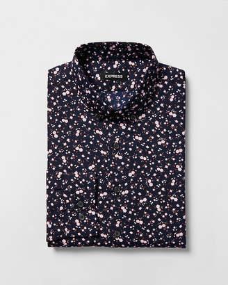 Express Slim Floral Print Button Collar Dress Shirt