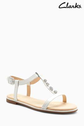 Next Womens Clarks White Bay Blossom Jewel T-Bar Sandals