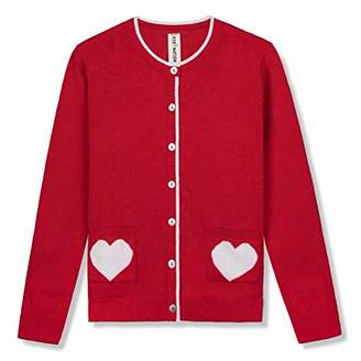 Kid Nation Girls' Sweater Long Sleeve Cardigan with Love Heart Pocket Cotton School Uniform Knit Sweater