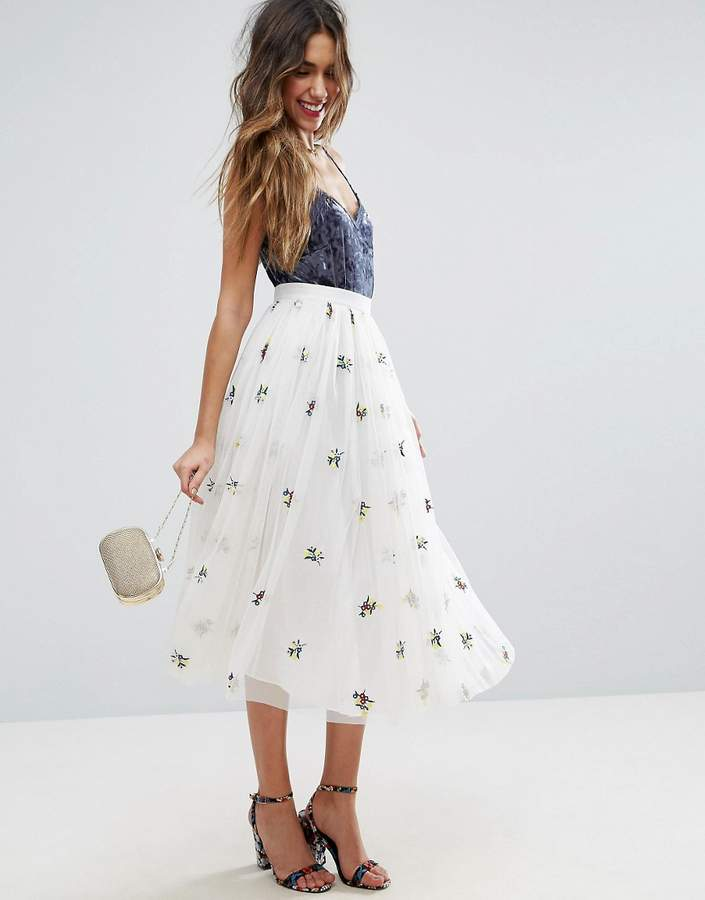 Asos ASOS Tulle Midi Skirt with Embroidery