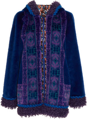 Anna Sui Bouclé-Trimmed Faux Fur Hooded Jacket