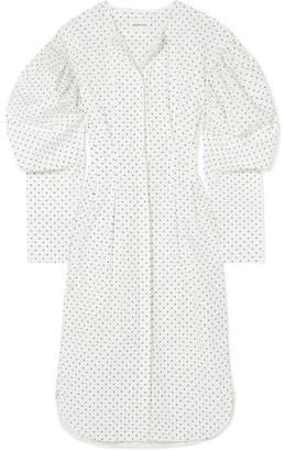 Georgia Alice - Desert Polka-dot Cotton-poplin Midi Dress - White