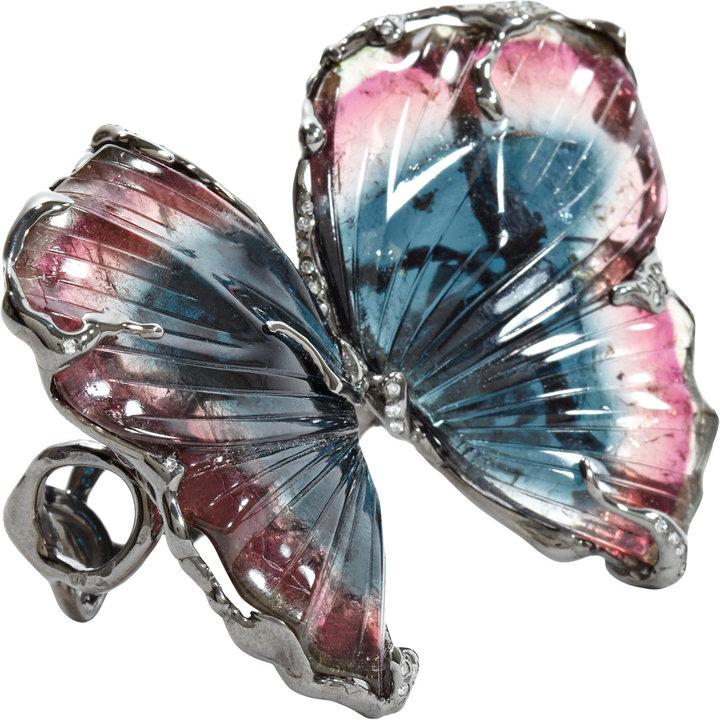 Lucifer Vir Honestus Tri-Color Tourmaline Double Butterfly Ring