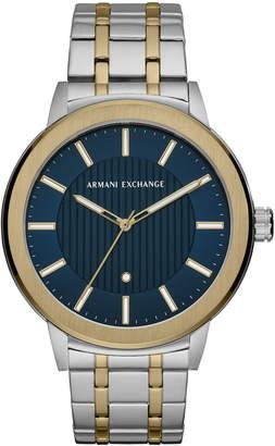 Armani Exchange Men Maddox Genuine Diamond-Accent Two-Tone Stainless Steel Bracelet Watch 46mm