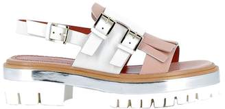 Santoni Pink/white Leather Sandals