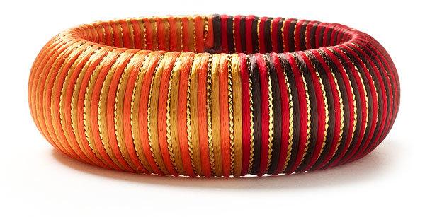 Cara Accessories Silk Stripe Two Tone Bangle