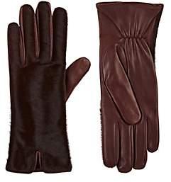 Barneys New York Women's Calf Hair & Leather Gloves - Wine