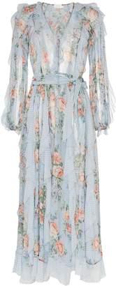 Zimmermann floral print waterfall detail silk dress