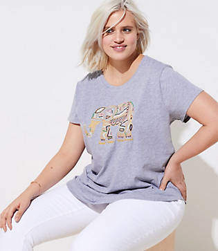 LOFT Plus Beaded Elephant Tee