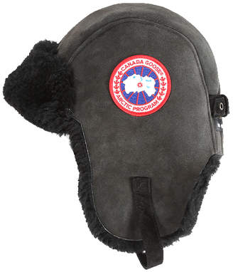 Canada Goose Suede Shearling Pilot Hat Black