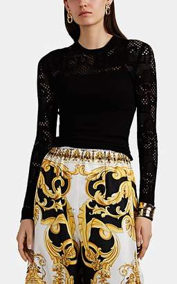 Versace Women's Logo-Knit Fitted Top - Black