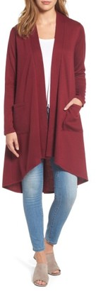 Women's Bobeau High/low Fleece Knit Cardigan $49 thestylecure.com