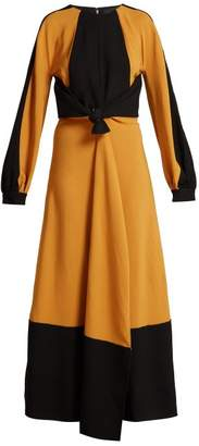 Panelled Tie Waist Crepe Dress - Womens - Orange Multi
