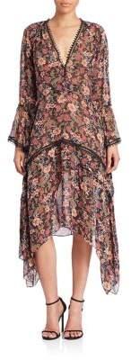 Nicholas 70's Floral Silk Midi Dress