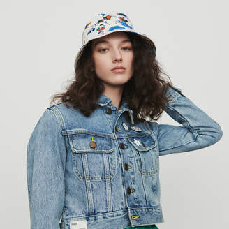 Maje Cropped jacket in denim with pins