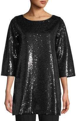Joan Vass Easy 3/4-Sleeve Sequin Tunic, Petite