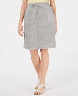 Karen Scott Cotton Drawstring-Waist Skirt