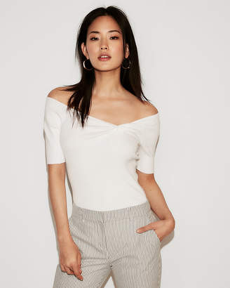 Express Off The Shoulder Ruched Front Fitted Pullover Sweater