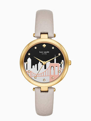 Kate Spade Varick cityscape grey leather watch