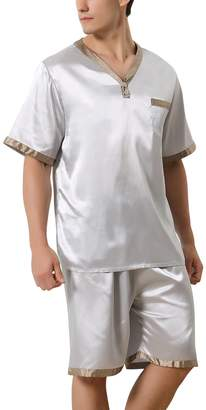 041620cd47e3 Dolamen Mens Pyjamas Set Satin Bottoms Mens Silky Summer Nightwear