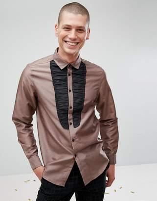 Asos Design Regular Fit Shirt With Black Bib