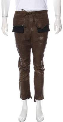 Haider Ackermann Zip-Accented Leather Moto Cropped Pants
