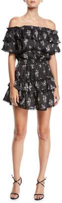 MISA Los Angeles Mayna Off-Shoulder Floral Ruffle Mini Dress