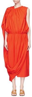 MS MIN Ruched asymmetric sash drape dress