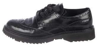 Prada Sport Leather Round-Toe Oxfords