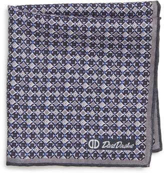David Donahue Geometric Wool & Silk Pocket Square