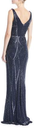 Rachel Gilbert V-Neck Sleeveless Beaded Embellished Evening Gown