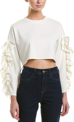 Glam Ruffle Bell-Sleeve Cropped Pullover