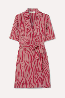 Diane von Furstenberg Alexa Tiger-print Cotton And Silk-blend Voile Wrap Mini Dress - Claret