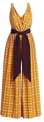 STAUD Women's Mika Sash-Tie Checker Wide-Leg Jumpsuit