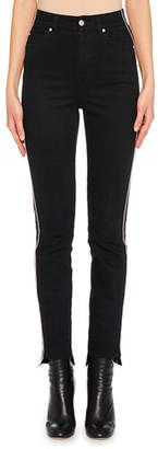 Alexander McQueen High-Waist Racer-Stripe Skinny Jeans with High-Low Cuff