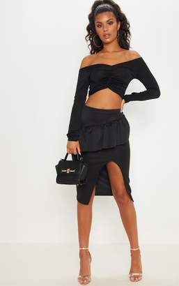 PrettyLittleThing Black Frill Detail Midi Skirt