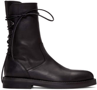 Ann Demeulemeester Black Back Lace-Up Boots