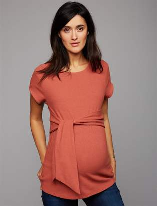 A Pea in the Pod Tie Front Textured Maternity Top