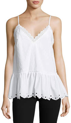 McQ Eyelet Cami Top w/ Gathered Hem